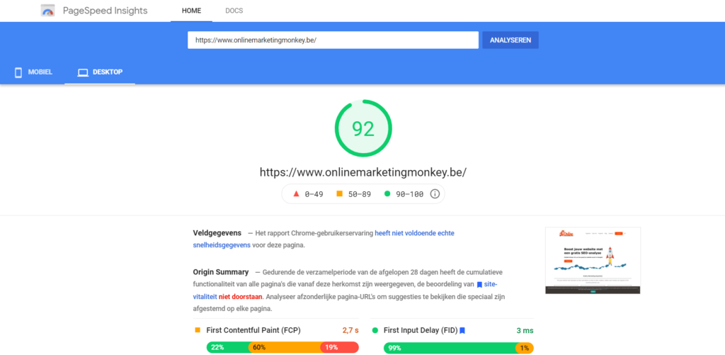 Google PageSpeed Insights report OMM